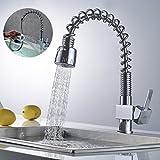 Auralum 360° Küchenarmatur Ausziehbar Mischbatterie Wasserfall Wasserhahn Einhandmischer Spültisch Armatur Küchen Chrom