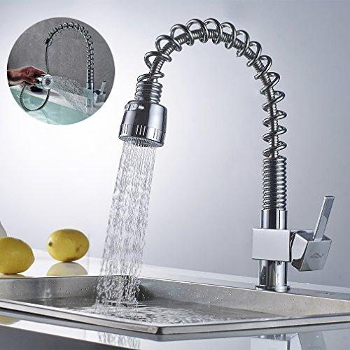 Auralum 360° Drehung Küchenarmatur Wasserfall Wasserhahn Kupfer Mischbatterie Spültisch Armatur Küchen Chrom