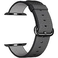 Apple Watch cinturino ,PUGO TOP Woven Nylon Replacement Wrist cinturino Bracelet Strap for Apple Watch Serise 1/Apple Watch Serise 2 (38mm , Nero)
