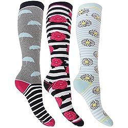 Mujer / Mujer Hyperwarm Largo Térmico Calcetines Para Botas de agua (3 pares) - ROSA margaritas/Paraguas, 4-7 UK 39-42 EU