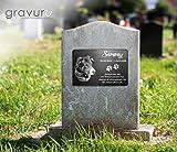 Gedenktafel mit Foto Grabstein Gedenkstein mit Gravur ( NEU !! auch mit Motiven ) ca. 30 x 20 cm für Tiere / Hund Katze Pferd mit Foto- und Textgravur – kein Druck schönes Andenken an die Liebsten /schöne Grabplatte - 2