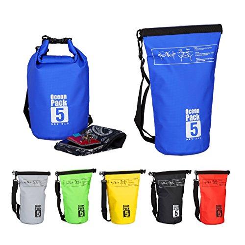 Relaxdays Ocean Pack, 5L, wasserdicht, Packsack, leichter Dry Bag, Kajak, Trockentasche, Segeln, Ski, Snowboarden, blau (Boot Tasche-rucksack Ski)