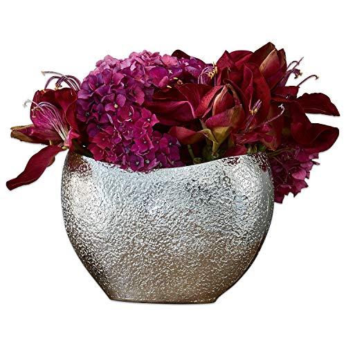 Loberon Vase Mansoor, Aluminium, H/B/T ca. 17/24 / 16 cm, antiksilber