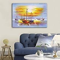 ZSH Salpa verso il mare dipinto a mano olio dipinto,