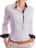 Damen Figurbetonte Langarm Bluse Business Hemd Tailliert mit Punkten (533), Farbe:Weiß, Größe:X-Large