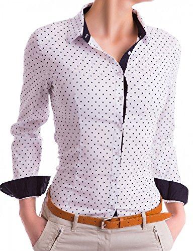Damen Figurbetonte Langarm Bluse Business Hemd Tailliert mit Punkten (533), Farbe:Weiß, Größe:Large (Seiden-chiffon-bluse Langarm)