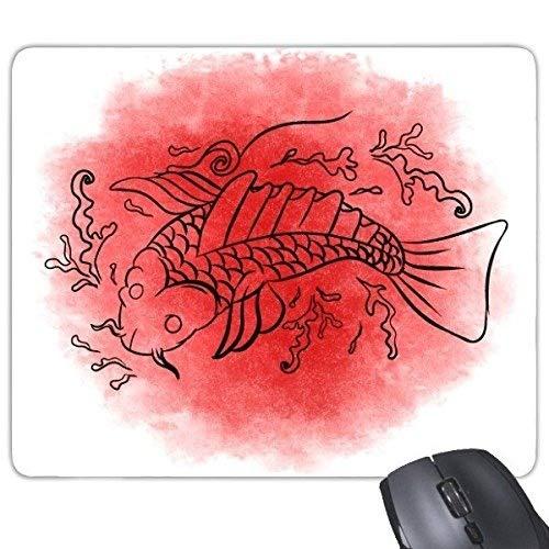 Japan Kultur Rot Schwarz Japanische Art Goldfisch-Wellen Tinte und Wäsche Handverzierte Abbildung Rechteck Rutschfeste Gummi Mousepad Spiel Mauspad