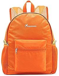 Kimruida Mochila portátil Plegable de Nailon Ligera, para Viaje, Mochila de Deporte o Acampada, Color Naranja,…