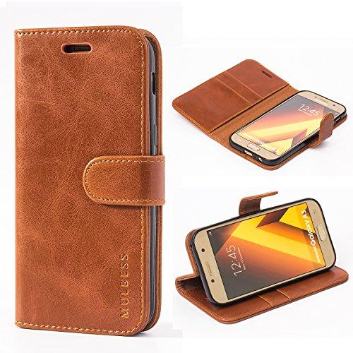 Mulbess Ledertasche im Ständer Book Case / Kartenfach für Samsung Galaxy A5 (2017) Tasche Hülle Leder Etui,Braun
