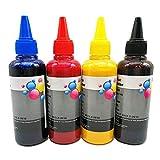 Lot de 4 flacons d'encre pigmentée compatibles avec Les Cartouches d'encre Epson 29XL 27XL 34XL 35XL 33XL 16XL 18XL T1816 T1285 T1295 T0715 Rechargeables ou systèmes d'encre résistants à l'eau