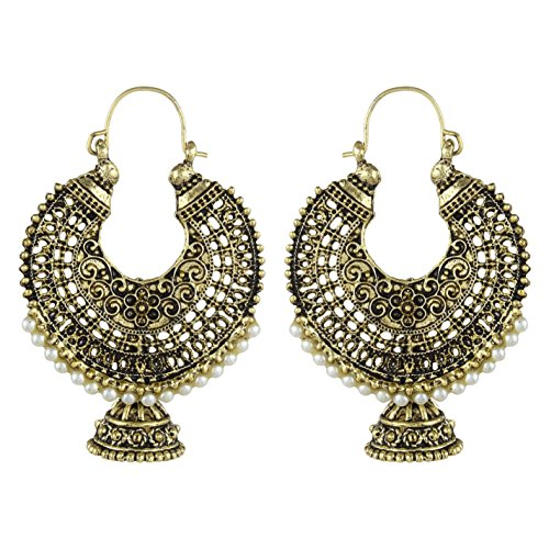 Anishop Antique Oxidised Elegant Designer Pearl Chandbali Style Hoop Earring For Women