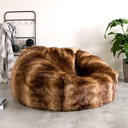 ICON - Ein extragroßer Luxussofa - Sitzsack – in weichem Kunstpelz – Ein großer flauschiger Sitzsack - XL Kunstpelz-Sitzsack (Braun)