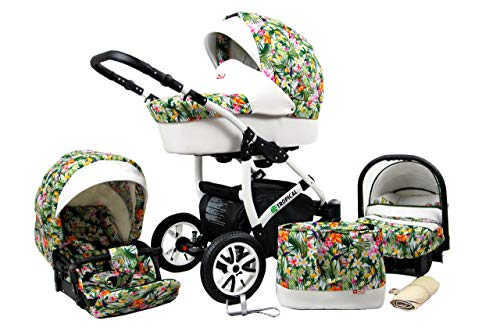 Kinderwagen Tropical, 3in1 -Set Wanne Buggy Babyschale Autositz Tropical Flowers