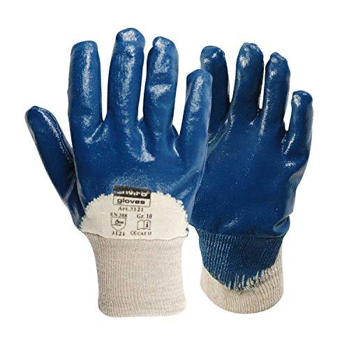 Blau-arbeits-handschuhe (Enviro Glove 12x blauer Nitril-Handschuh - sehr flexible Arbeitshandschuhe - Öl- und Fett abweisend - Schutzhandschuhe nach Norm 388-3111 in Größe 10)