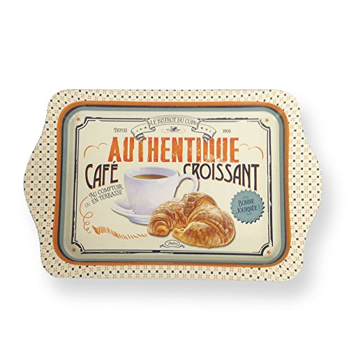 Natives 410060 café-croissant bandeja Metal 25 x 16 x 2 cm), multicolor