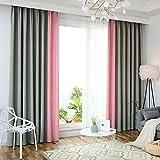 WYJW Cotone e Lino Tenda Colore Corrispondenza Isolamento Termico Tenda Camera Oscurante Tenda casa Decorazione Cuciture Colore,Gray+Pink
