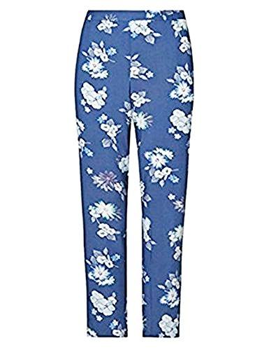 major-highstreet-negozio-blu-floreale-pantaloni-a-gamba-dritta-orig-prezzo-25-blue-taglia-46-medio