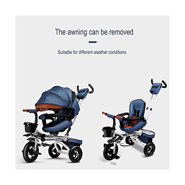 GSDZSY - Luxury 4 IN 1 Foldable Children Tricycle Stroller,360° Swivel Seat,With Detachable Push Rod And Awning,Seat And Handlebars Can Be Adjusted,Luxury Comfort Seat,18-60 Months,Blue_1A GSDZSY ❀ Material: High carbon steel + ABS + Rubber wheel, suitable for children from 1- 6 years old, maximum load 50 kg ❀ Features: The push rod can be adjusted heights; the seat can be rotated 360 to facilitate communication between mother and baby; adjustable parasol for different weather conditions ❀ Performance: high carbon steel frame, stronger and stronger bearing capacity; Rubber wheel is non-slip wearable suitable for all kinds of road conditions, seat is made of breathable fabric, baby ride is more comfortable 3