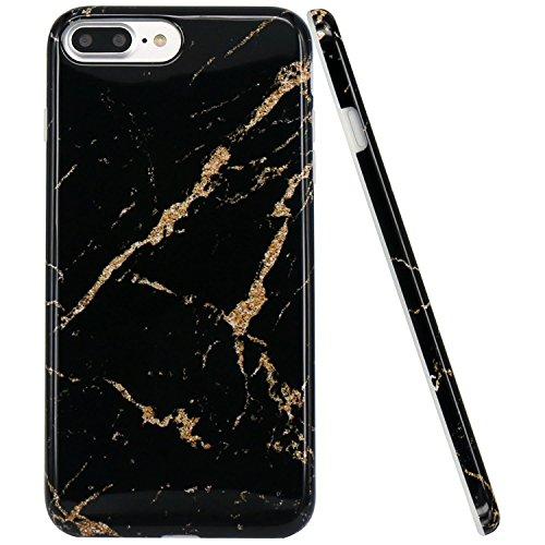 Schwarz-marmor (iPhone 7 Hülle, iPhone 8 Hülle, JIAXIUFEN Schwarz Gold Marmor Design Soft TPU Silikon Schutz Handy Hülle Handytasche HandyHülle Case Cover Tasche Schutzhülle für Apple iPhone 7 /iPhone 8)