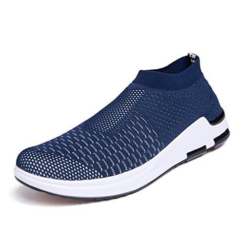 IceUnicorn Herren Sneaker Slip on Sportschuhe Turnschuhe Outdoor Leichtgewichts Laufschuhe Freizeit Atmungsaktive Schuhe(Blau,40EU) Mid Top Schuhe