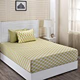 Maspar Superfine Cotton 210 TC Green King Bedsheet with 2 Pillow Covers