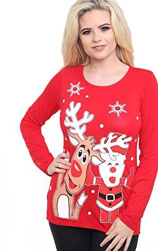 Generic -  T-shirt - Camicia - Maniche lunghe  - Donna Red Rudolph Santa