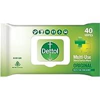 Dettol Disinfectant Sanitizer Wet Wipes for Skin & Surfaces, Original – 40 Count| Moisture-Lock Lid | Safe on Skin…