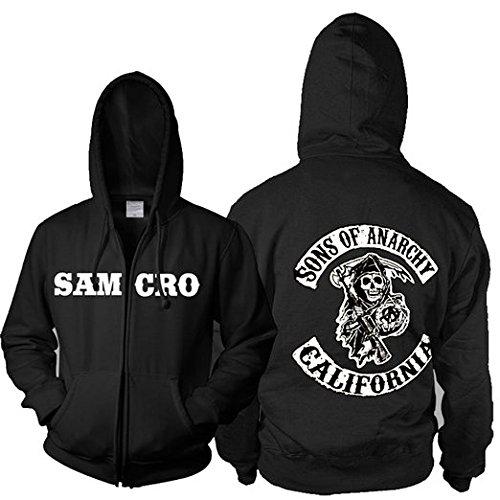 osplay Kostüm Zip Hoodie Jacke Deluxe Sweatshirt Herren Kleidung Top Merchandise (M: 165-170cm, Samcro Sweatshirt) (Sons Of Anarchy Kostüme)