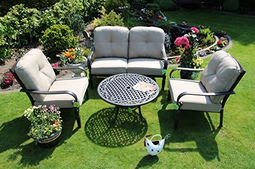 Made for us Alu Garten-Möbel wetterfestes Aluguss Lounge-Möbel Set, Sitzgruppe bestehend aus Garten-Sofa, 2 Garten-Sessel und Couch-Tisch, original (Sofa + 2 Sessel + Couchtisch) - Club-sessel Set