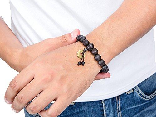 Jstyle Schmuck 2 Pcs 11mm Holz Perlen Armband für Männer Frauen Tibetan Buddhist Prayer Link Cool