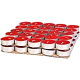 Wax Tea Light Candles(White, Set Of 50, 4.5 Hours Burn Time)-GIFT PACKED-MADE IN INDIA (RED)