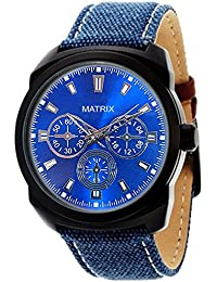 Matrix Blue Dial & Blue Leather Strap Analog Wrist Watch For Men/Boys - (WCH-243)