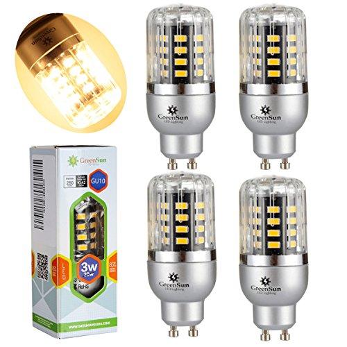 Preisvergleich Produktbild GreenSun LED Lighting 4er GU10 3W Entspricht 20W 40*5736SMD LED lampe Leuchtmittel Birne Mais Glühbirne Glühlampe High power Strahler Energiesparlampe Licht 85-265V Warmweiß 360 Grad Abstrahlwinkel
