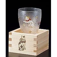 "Aderia Japan Edo Neko (gato) MasuZake Glass (cristal de sake japonés) con caja de Masu Gatos Lindo ""Prosperous Business"" 6782"