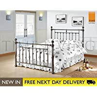 24745c7a81ab Time Living Exclusive Alexander 4ft6 Black Nickel Double Bed ALE46BLK Bed  Frame Only
