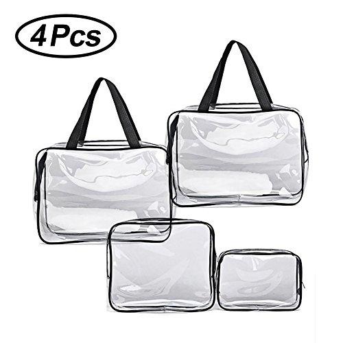 4pcs Clear PVC Toiletry Makeup Wash Bag Travel Set Waterproof New