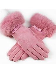 El engrosamiento de las señoras del invierno más el terciopelo gamuza cinco dedos de la pantalla táctil de ciclismo guantes calientes ( Color : Pink )