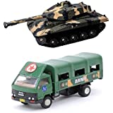 Playking Centy Combo Of DCM Army Truck & Min Toy Battle Tank - Pull Back Action, Color May Vary