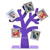 Polaroid Bilderrahmen-Stammbaum – Baum mit Stand & fünf magnetischen Mini-Bilderrahmen (Lila) für Zink-Fotopapier 5 x 7.5 cm (Snap, Zip, Z2300).