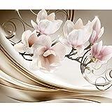 decomonkey | Fototapete Blumen Abstrakt 400x280 cm XL | Tapete | Wandbild | Wandbild | Bild | Fototapeten | Tapeten | Wandtapete | Wanddeko | Wandtapete | Magnolie Orchidee 3d Effekt beige orange rosa