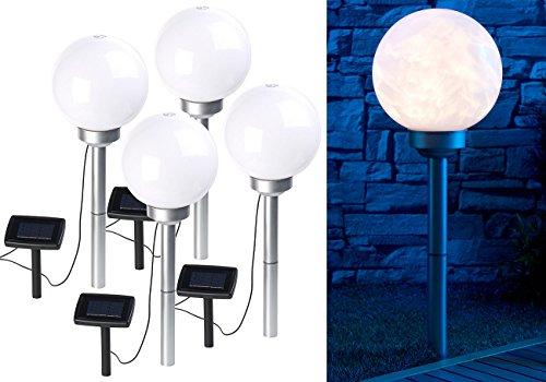 Lunartec Gartenleuchte Kugel: 4er-Set Solar-LED-Leuchtkugeln, rotierender Effekt, Erdspieß, Ø 20 cm (Kugel Solar)