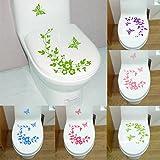 Jasnyfall Papillon Fleur Salle De Bains Toilette Ordinateur Portable Stickers Muraux Autocollant Décoration de La Maison