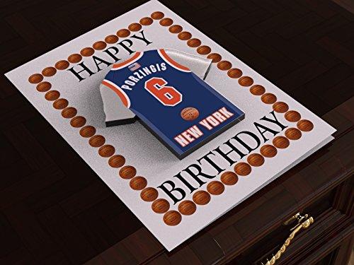 MyShirt123 Geburtstagskarte, Design NBA Basketball-Trikot, Name und Nummer personalisierbar, alle Teamfarben erhältlich New York Knicks NBA Basketball Greeting Card