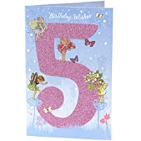 Age 5 Birthday Card - 5th Birthday Card for Her - Flower Fairies Birthday Card - Ideal Gift Card for Kids - Flower Fairies Gifts for Kids - Fairy Birthday Card