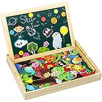 TONZE Pizarra Magnética Niños Rompecabezas Madera Pizarras Infantil Montessori Juguetes Puzzle de Madera Tablero de Dibujo de Doble Cara para Niños 170+ Piezas - Peluches y Puzzles precios baratos