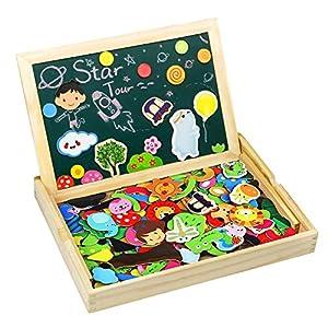 TONZE Puzzle Magnetico Legno Giocattolo di Legno Bambini con Lavagna a Double Face, Puzzle di Legno
