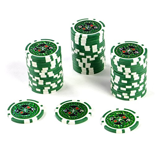50 Poker-Chips Laser-Chips Wert 25 - 12g Metallkern Poker Texas Hold`em Black Jack Roulette – blau – reflektierend