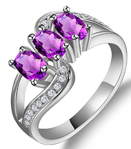 SaySure - Real 925 Sterling Silver Rings Purple Gemstone (SIZE : 7)