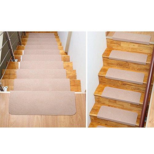 Fastar 5set di tappetini per scale, tappeto antiscivolo, antiscivolo, per esterni e interni (70x 20.5cm) Tappetino per le scale, Beige, beige