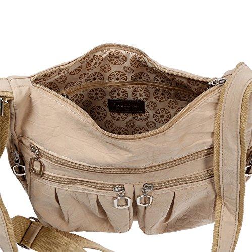 Christian Wippermann®, Borsa a spalla donna grigio grigio chiaro 31x24x11 cm Beige
